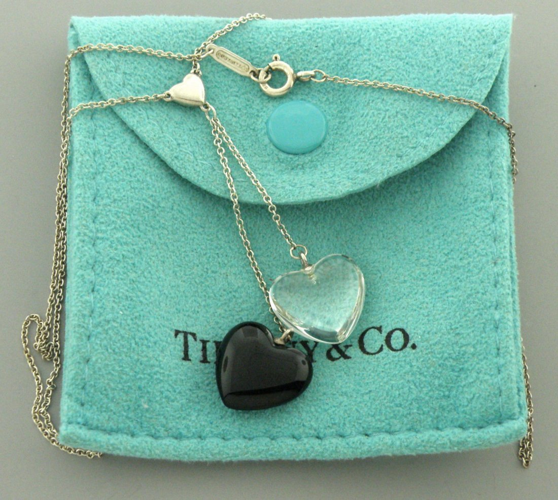TIFFANY & Co. STERLING ONYX CRYSTAL HEART NECKLACE