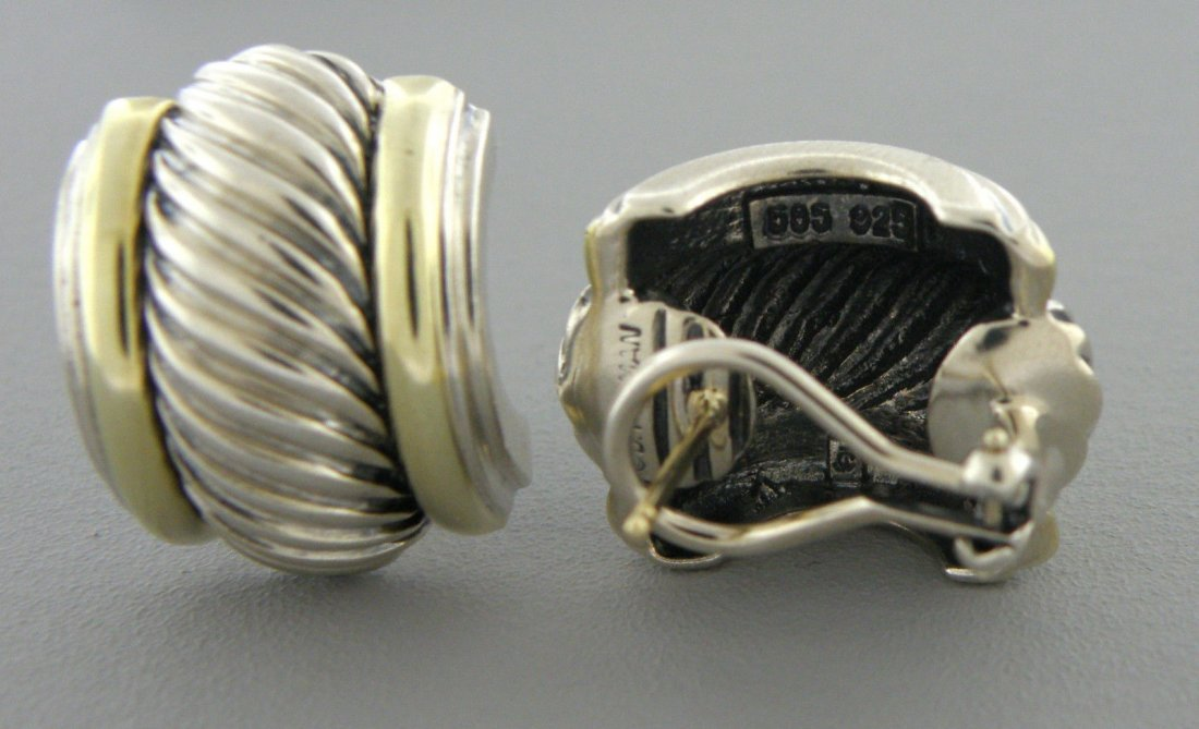 DAVID YURMAN 14K GOLD STERLING SILVER OMEGA EARRINGS