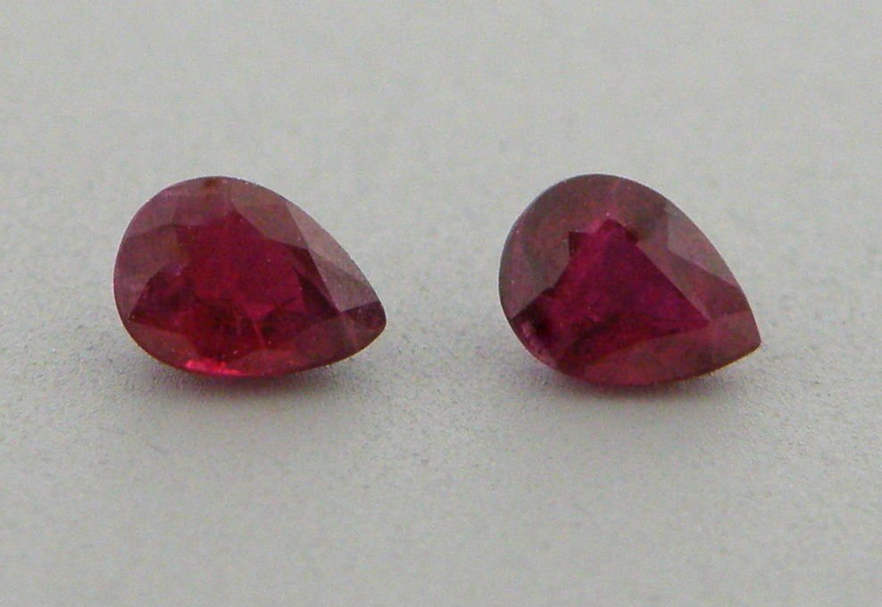 6x4mm MATCHING PAIR PEAR SHAPE PIGEON BLOOD RUBY