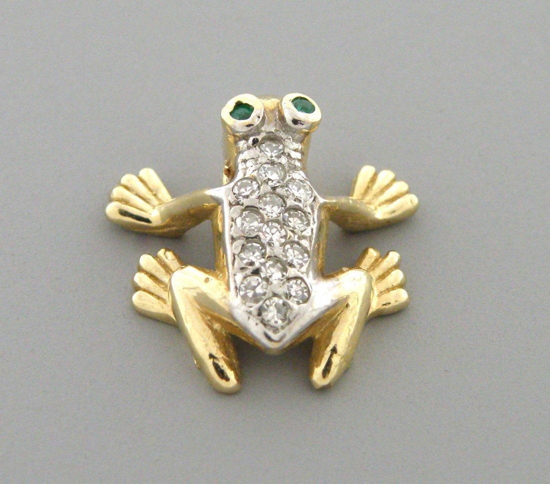 VINTAGE 14K GOLD DIAMOND EMERALD FROG PENDANT