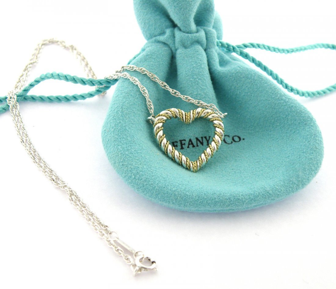 TIFFANY & Co. 18K STERLING SILVER HEART ROPE NECKLACE