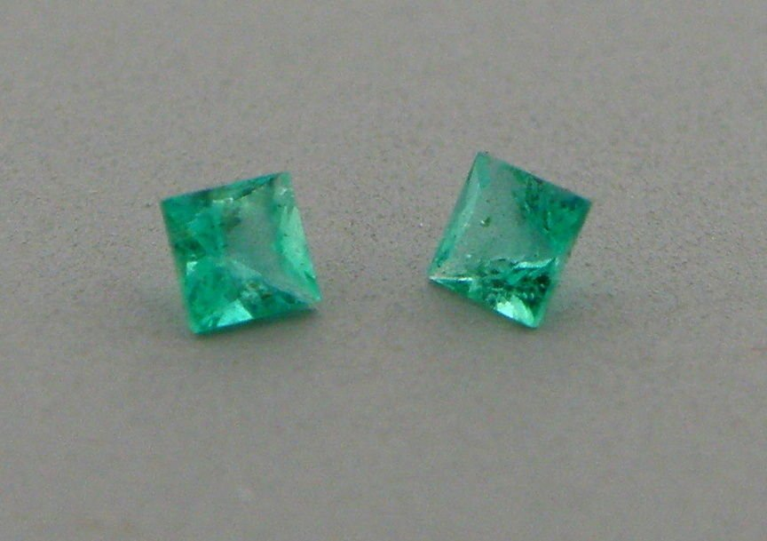 3.4mm MATCHING PAIR PRINCESS NATURAL COLOMBIAN EMERALD