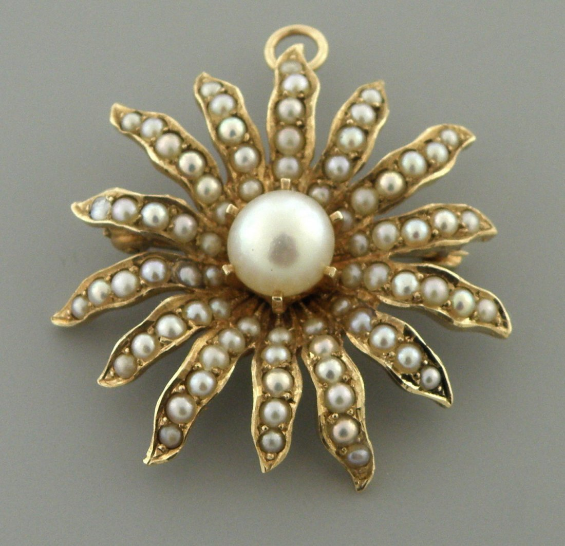 VINTAGE 14K GOLD SOUTH SEA PEARL SUNBURST FLOWER BROOCH