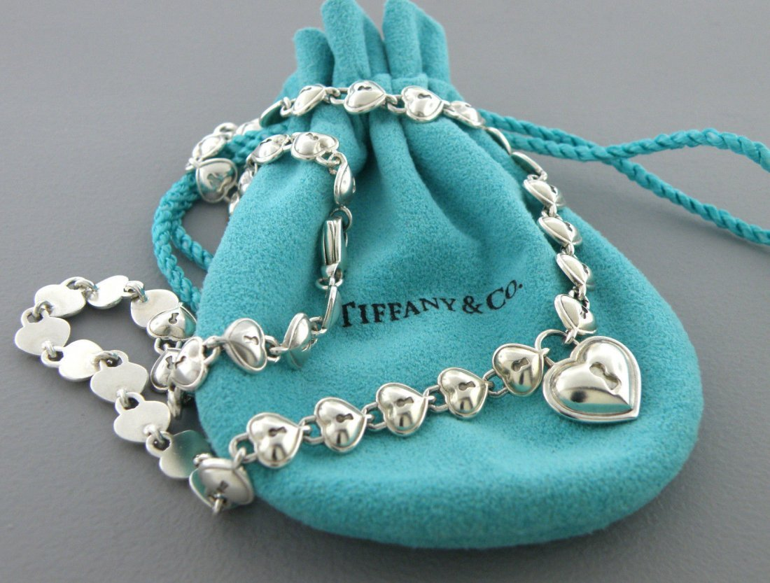 TIFFANY & Co. STERLING SILVER MULTI HEART LOCK NECKLACE
