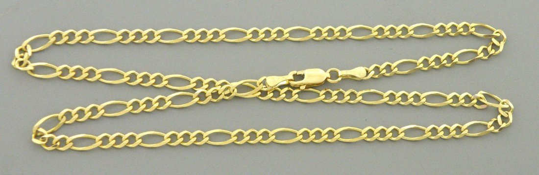 """NEW 14K GOLD CHAIN, 16"""" UNISEX FIGARO NECKLACE 3.5mm"""