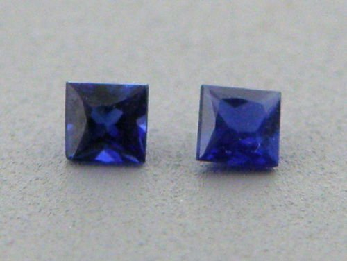3.5mm PRINCESS MATCHING PAIR UNTREATED BLUE SAPPHIRE