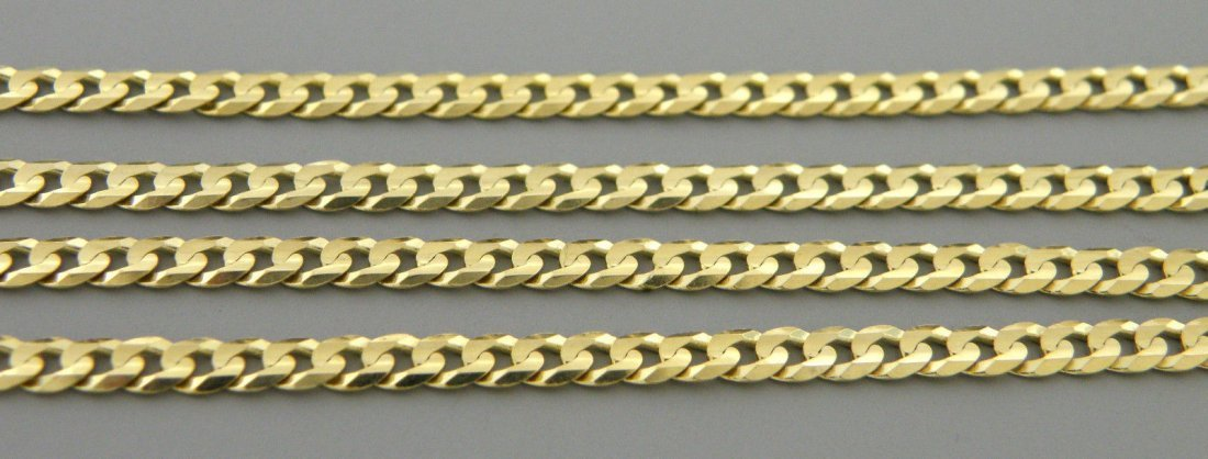 "14K YELLOW GOLD CHAIN, 18"" UNISEX CURB NECKLACE 3mm"