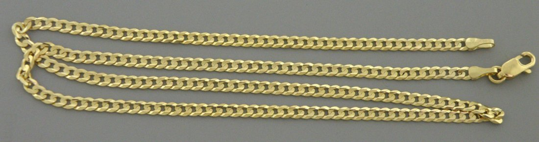 """14K YELLOW GOLD CHAIN, 16"""" UNISEX CURB NECKLACE 3mm"""