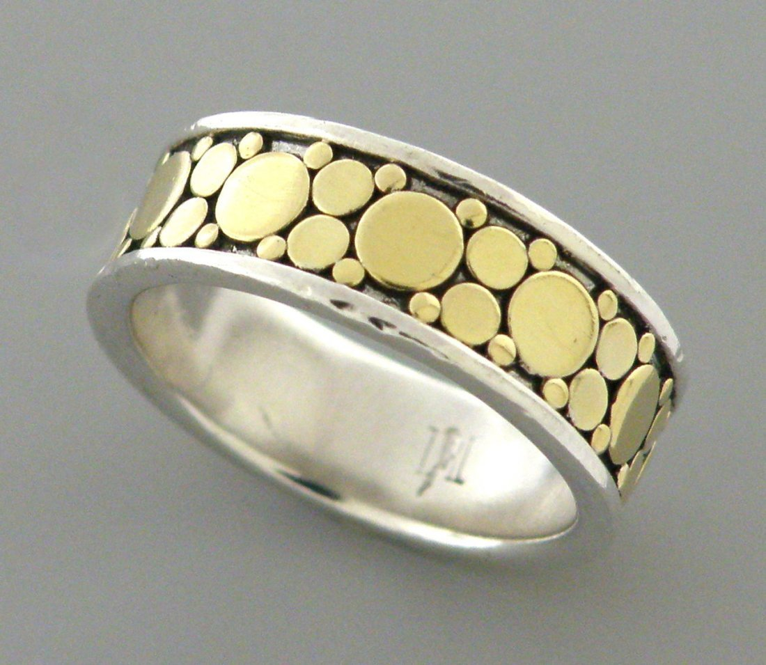 JOHN HARDY 18K GOLD STERLING SILVER FULL ETERNITY RING