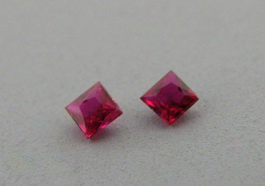 3.2mm MATCHING PAIR PRINCESS CUT LOOSE NATURAL RUBY