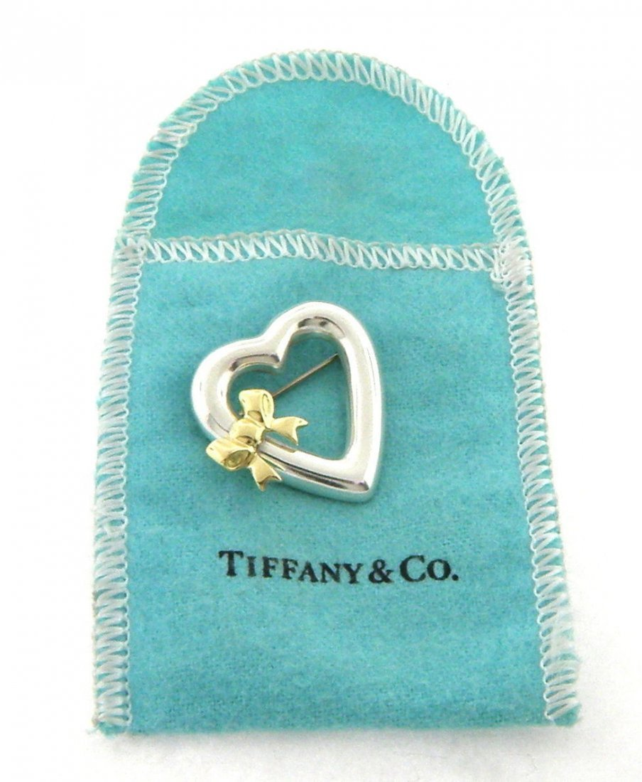 TIFFANY & Co. 18K STERLING SILVER HEART BOW PIN BROOCH
