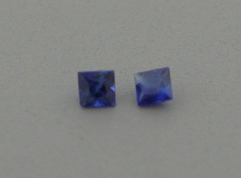 3.2mm PRINCESS CUT MATCHING PAIR NATURAL BLUE SAPPHIRE