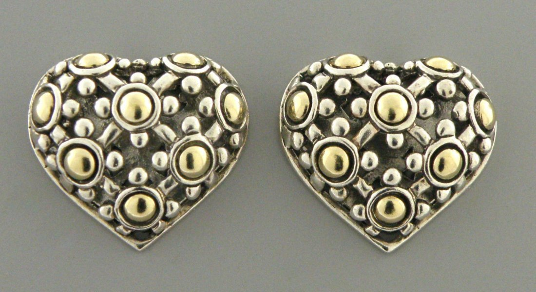 JOHN HARDY 18K GOLD STERLING SILVER HEART DOT EARRINGS