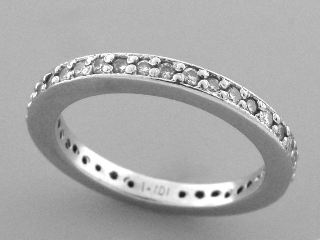 VINTAGE 14K WHITE GOLD FULL ETERNITY DIAMOND RING
