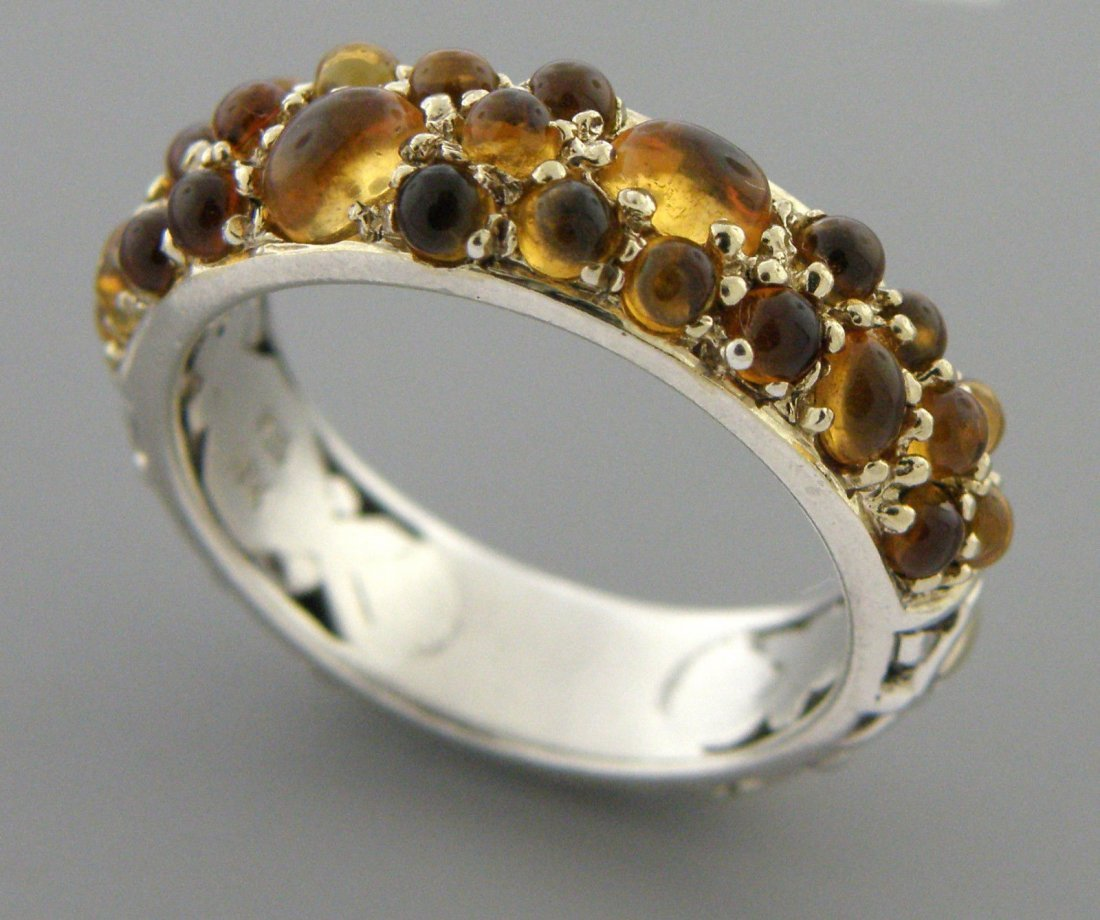 JOHN HARDY 18K GOLD STERLING SILVER CITRINE RING