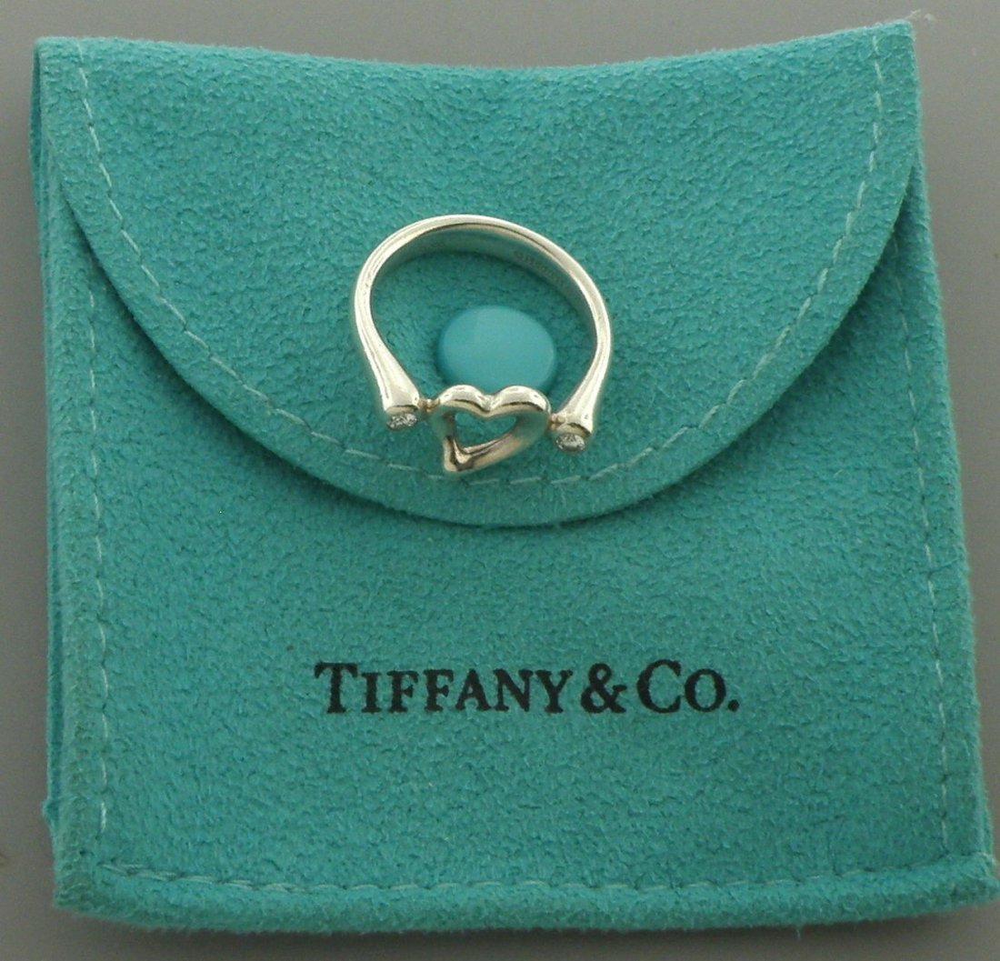 TIFFANY & Co. STERLING SILVER HEART DIAMOND RING