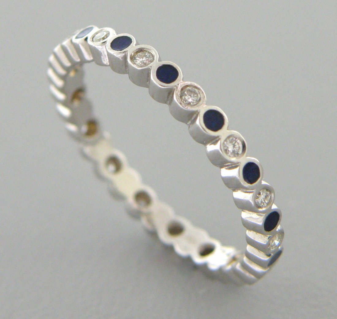 18K WHITE GOLD FULL ETERNITY DIAMOND BLUE ENAMEL RING
