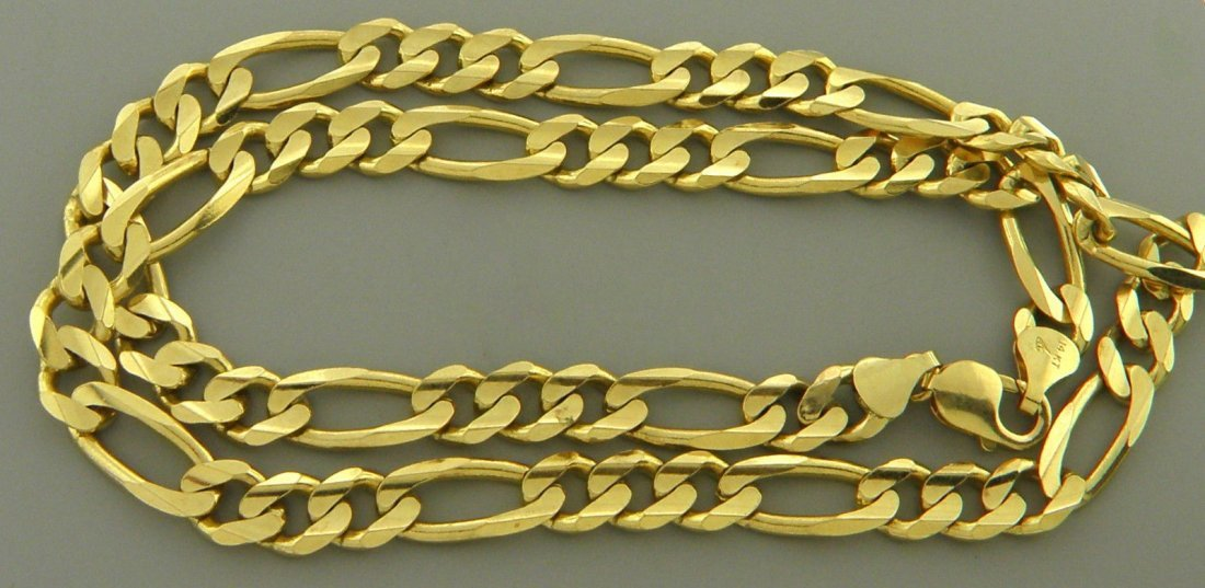 "NEW 14K YELLOW GOLD CHAIN, 22"" FIGARO NECKLACE 9.5MM"