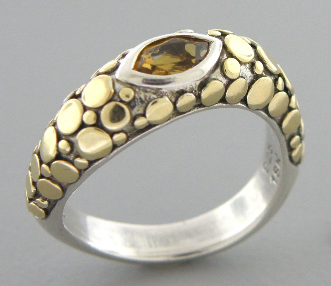 JOHN HARDY 18K GOLD STERLING SILVER CITRINE RING WAVE