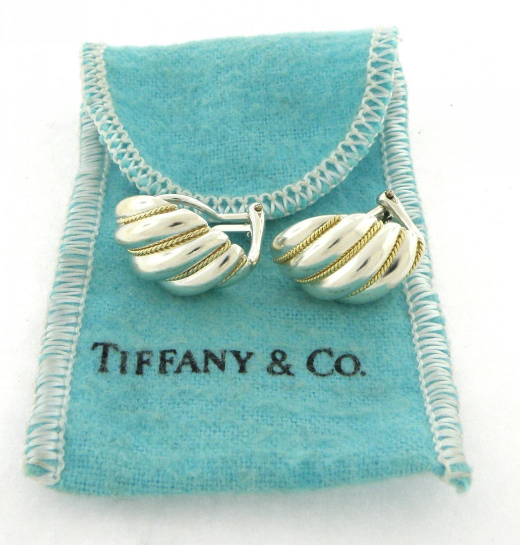 TIFFANY & Co. 18K STERLING SILVER SHRIMP ROPE EARRINGS