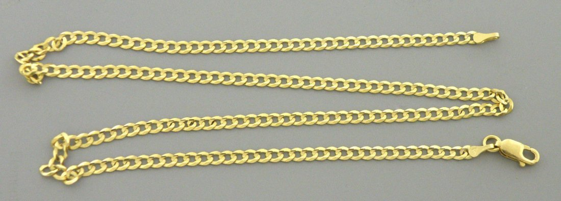 "NEW 14K YELLOW GOLD CHAIN, 18"" UNISEX CURB NECKLACE 3mm"