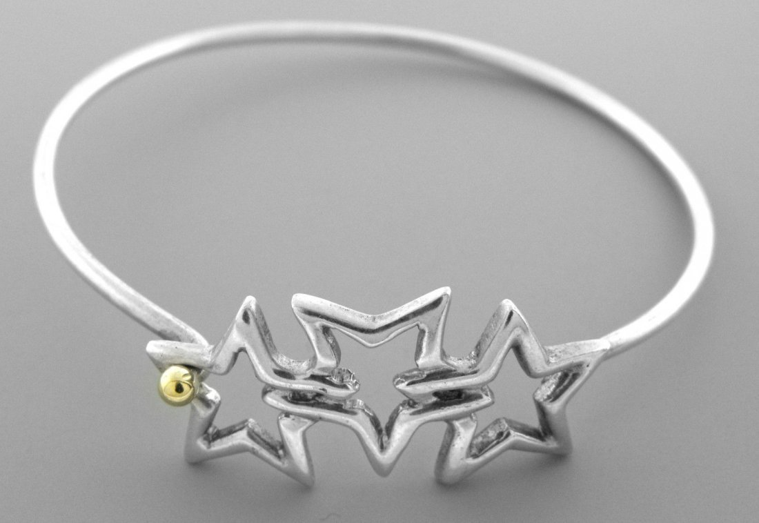TIFFANY & Co. 18K GOLD STERLING TRIPLE STAR NECKLACE