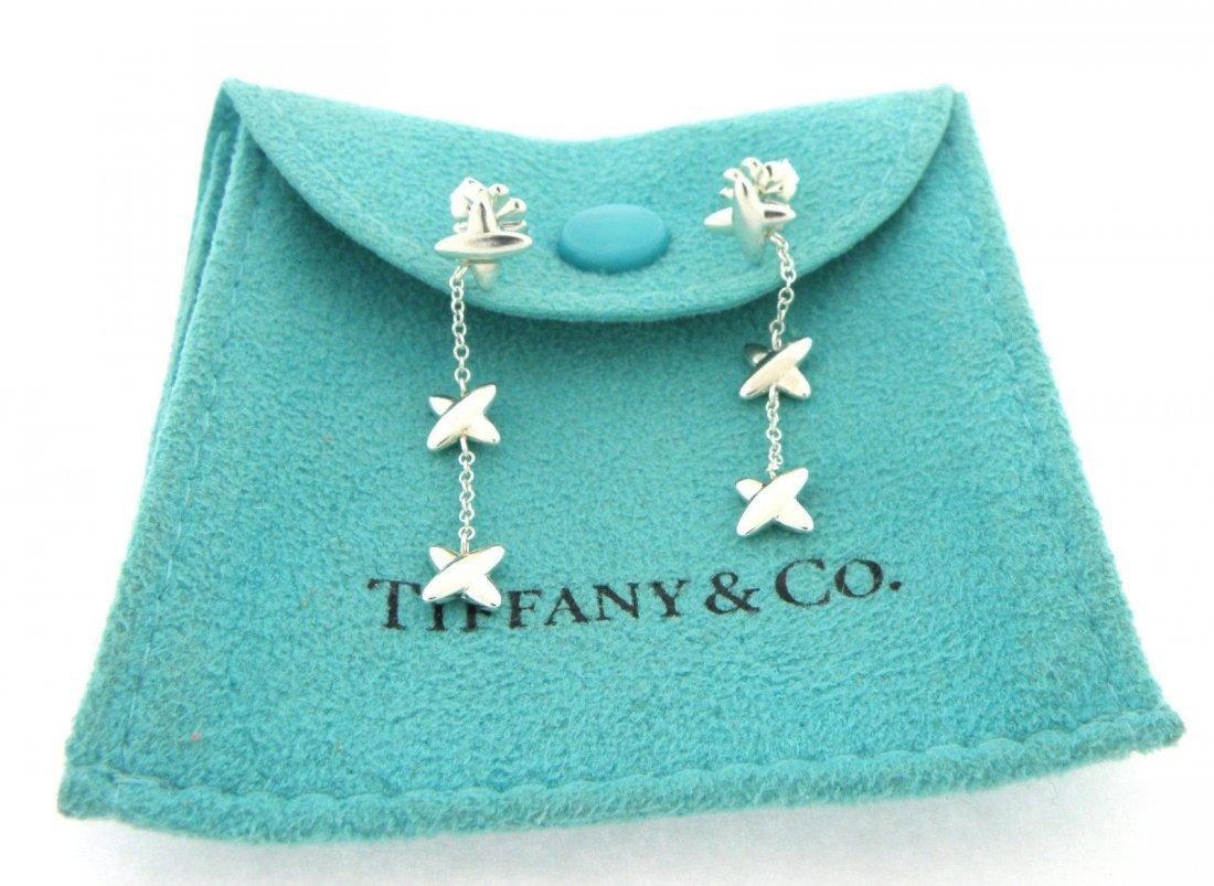 TIFFANY & Co. STERLING SILVER X DANGLE DROP EARRINGS