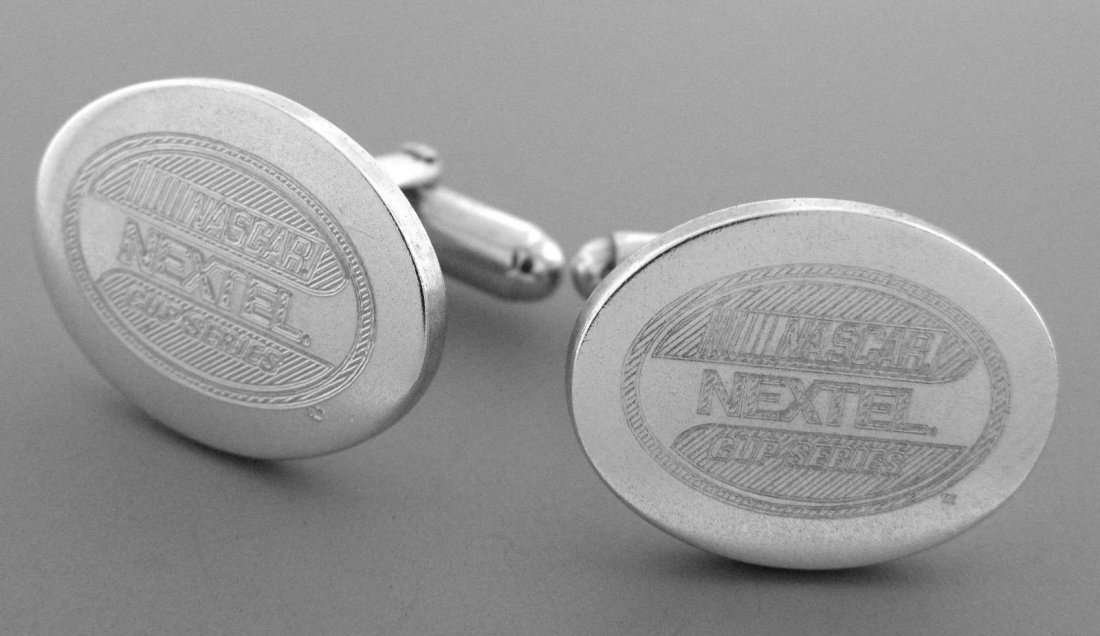 TIFFANY & Co. STERLING NEXTEL NASCAR OVAL CUFFLINKS