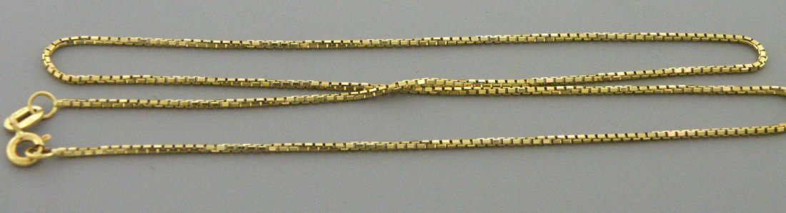 "NEW 14K YELLOW GOLD BOX CHAIN, 18"" NECKLACE 1.2MM"
