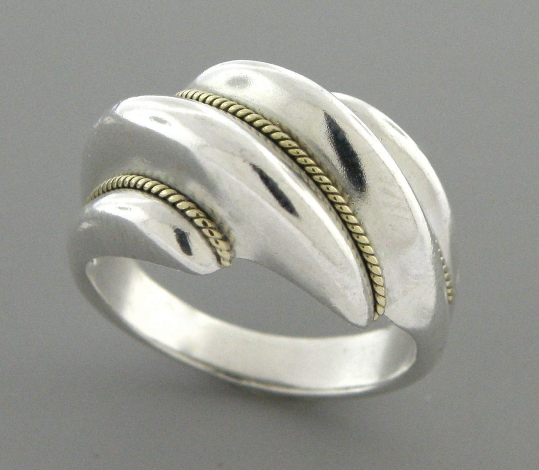 TIFFANY & Co. 18K STERLING SILVER WIRE TWIST DOME RING