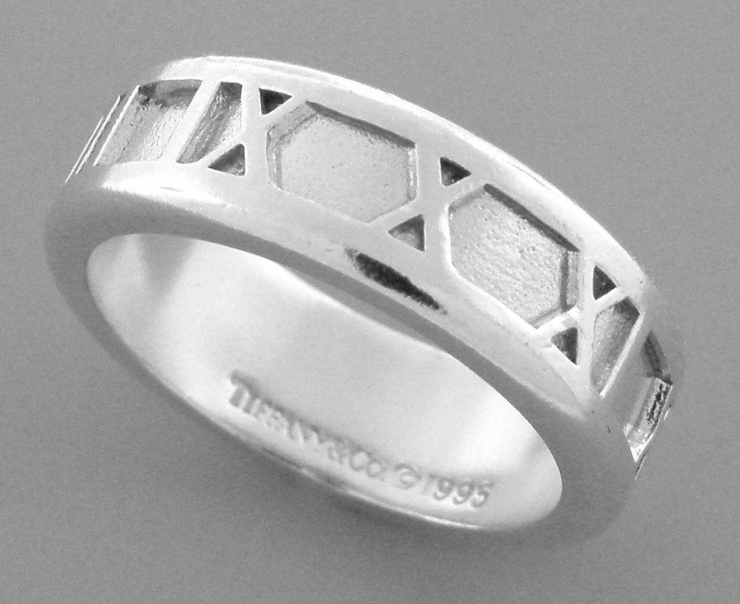 TIFFANY & Co. STERLING SILVER ATLAS ROMAN NUMERALS RING