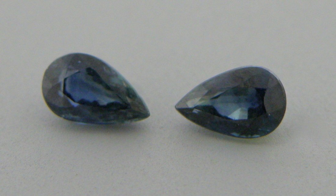 4x3mm MATCHING PAIR PEAR SHAPE NATURAL BLUE SAPPHIRE