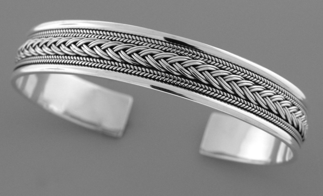NEW STERLING SILVER TWIST KNOT ROPE UNISEX CUFF BANGLE