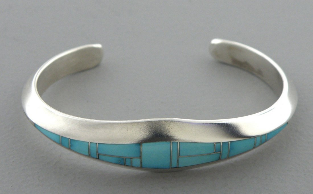 STERLING SILVER 925 GIRLS TURQUOISE CUFF BANGLE