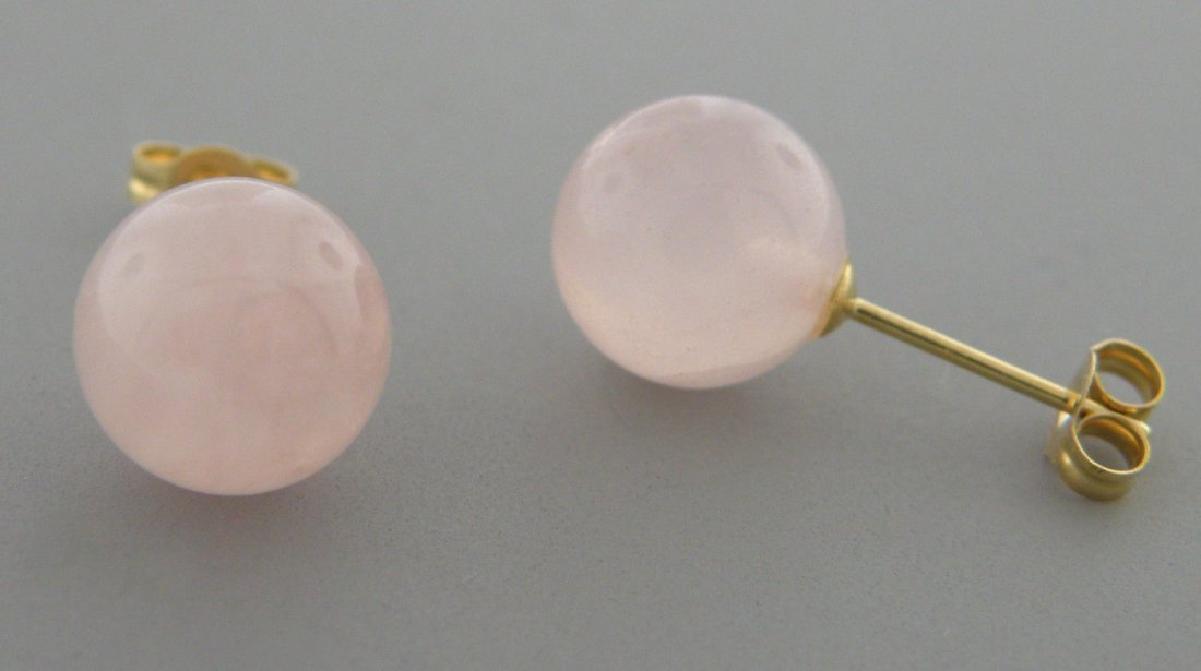 14K YELLOW GOLD ROSE QUARTZ STUD PINK EARRINGS - 2