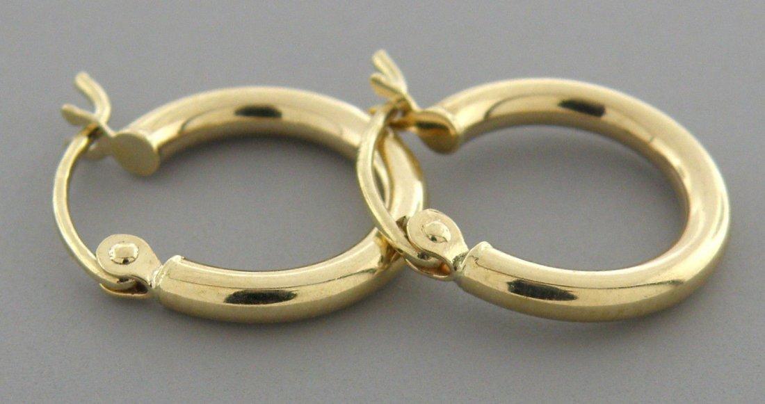 NEW 14K YELLOW GOLD PLAIN HUGGIE HOOP EARRINGS 2mm - 2