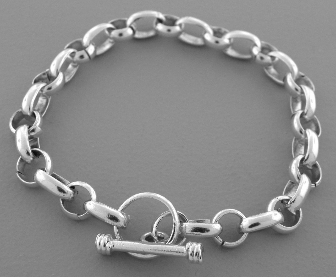 STERLING SILVER CHARM CHAIN TOGGLE BRACELET