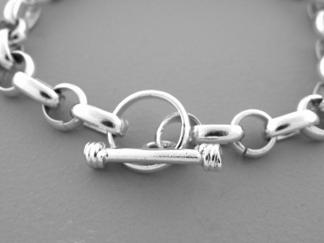 STERLING SILVER CHARM CHAIN TOGGLE BRACELET - 2