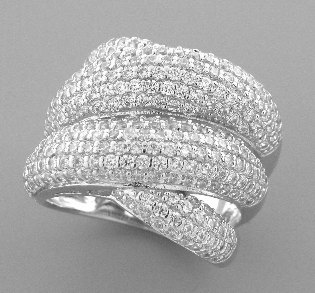 NEW STERLING SILVER CZ LARGE CROSSOVER WRAP PAVE RING 8
