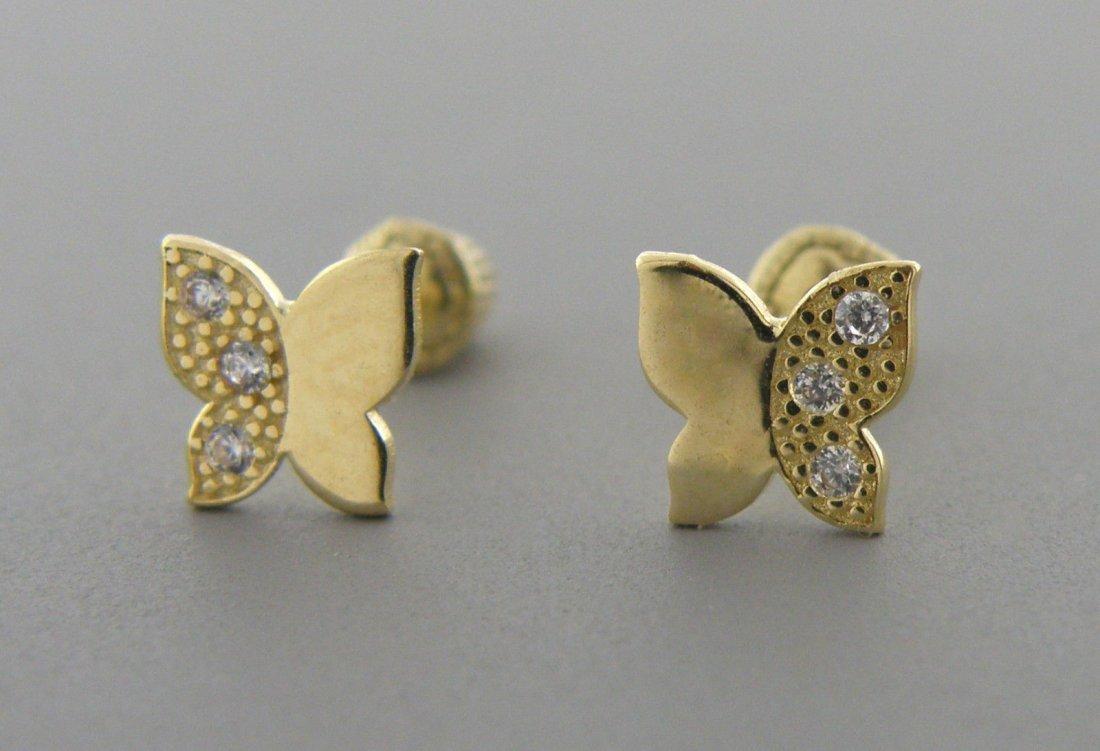 NEW 14K YELLOW GOLD CZ BABY STUD BUTTERFLY EARRINGS
