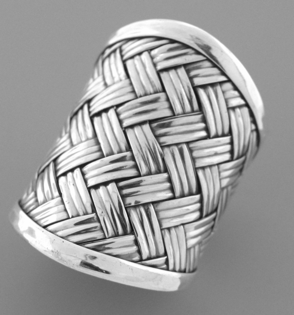 NEW STERLING SILVER LADIES LARGE BASKET WEAVE ROPE RING