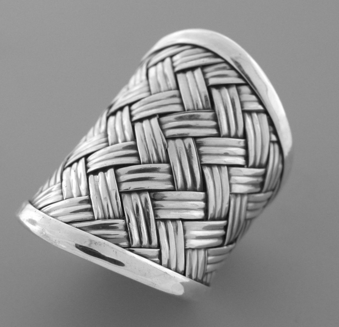NEW STERLING SILVER LADIES LARGE BASKET WEAVE ROPE RING - 2
