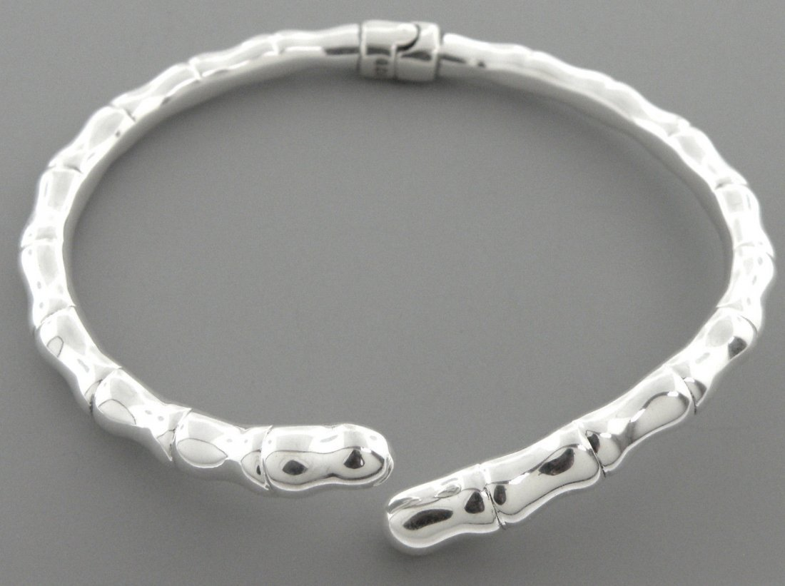 NEW STERLING SILVER CROSSOVER BAMBOO BANGLE BRACELET