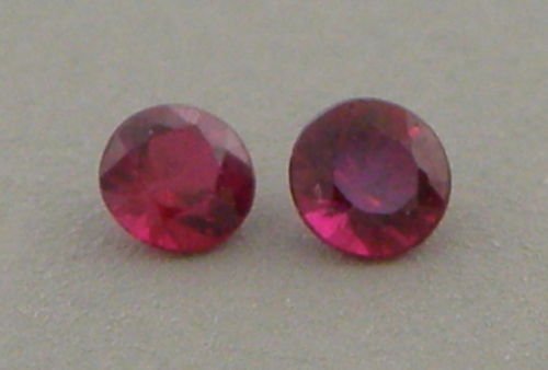 2mm ROUND CUT MATCHING PAIR LOOSE NATURAL RED RUBY