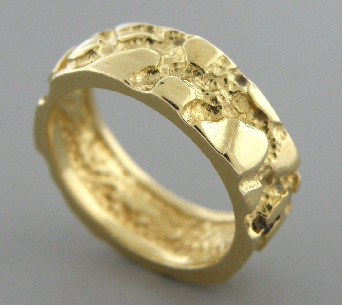 14K YELLOW GOLD RING FULL ETERNITY NUGGET BAND RING