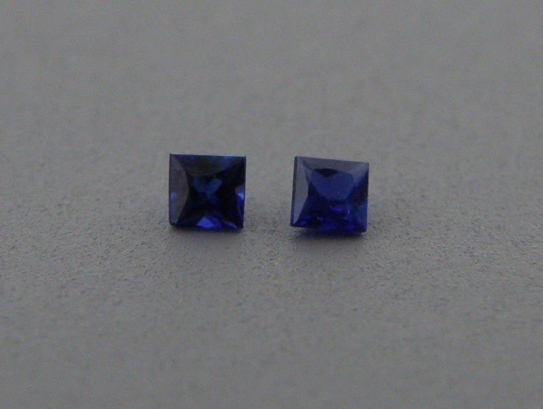 3mm PRINCESS CUT MATCHING PAIR UNTREATED BLUE SAPPHIRE