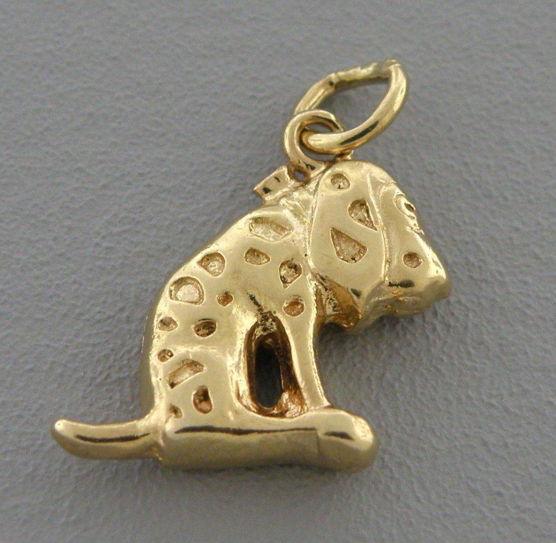 VINTAGE 14K YELLOW GOLD SAD DOG PENDANT OR CHARM