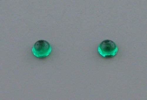 3.5mm ROUND MATCHING PAIR CABOCHON COLOMBIAN EMERALD - 2