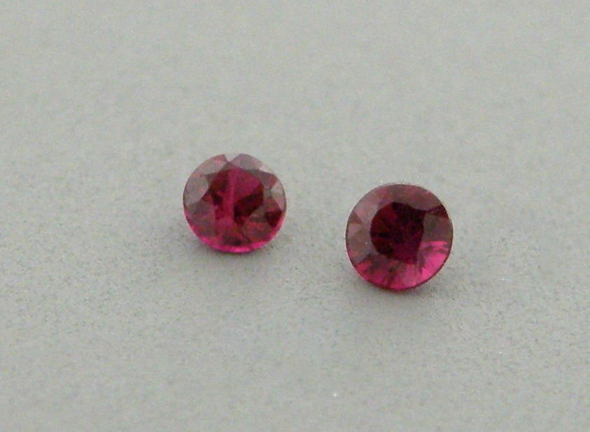 3.5mm ROUND CUT MATCHING PAIR LOOSE NATURAL RED RUBY