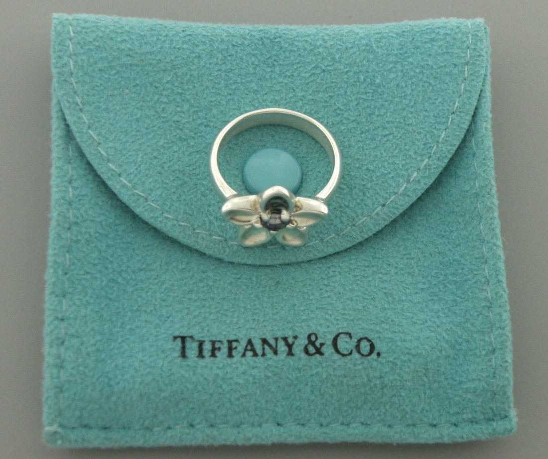 TIFFANY & Co. STERLING SILVER LADIES IOLITE FLOWER RING